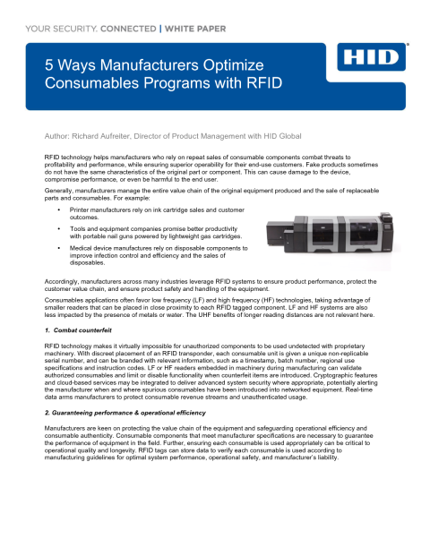 Optimize Consumables Programs with RFID White Paper