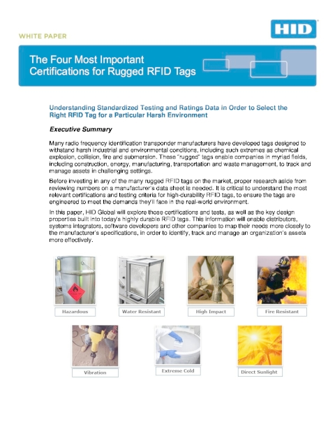 The Four Most Important Certifications for Rugged RFID Tags White Paper