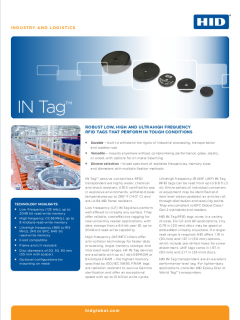 IN Tag Family Datasheet