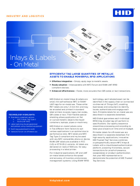 NFC Inlays and Labels on Metal Datasheet