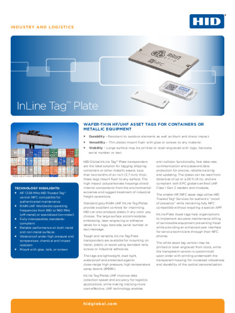 Inline Tag Plate Datasheet