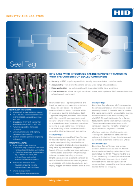 INDUSTRY & LOGISTICS RFID SLIMFLEX SEAL TAG DATASHEET (ENGLISH)