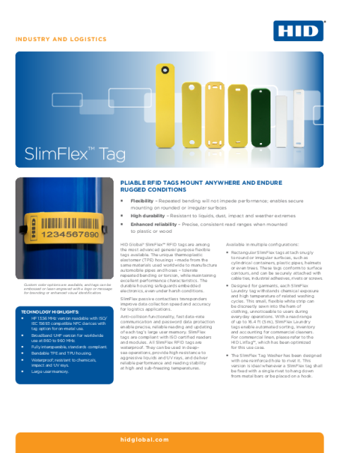 INDUSTRY & LOGISTICS RFID SLIMFLEX TAG DATASHEET (ENGLISH)