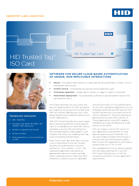 HID Trusted Tag ISO Card Dataheet