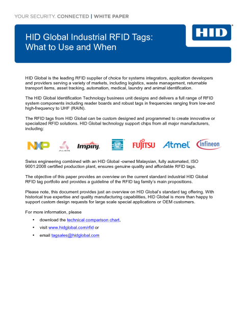 HID Global Industrial RFID & BLE Tags: What to Use When