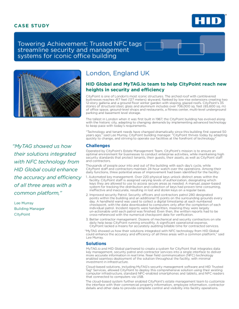 Trusted NFC Tags Streamline Security and Management Systems for Iconic Office Building Case Study