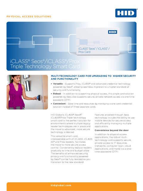 iCLASS® Seos®/iCLASS®/Prox Triple Technology Smart Card Datasheet