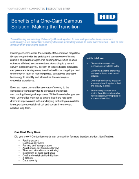 Benefits of a One-Card Campus  Solution: Making the Transition Executive Brief