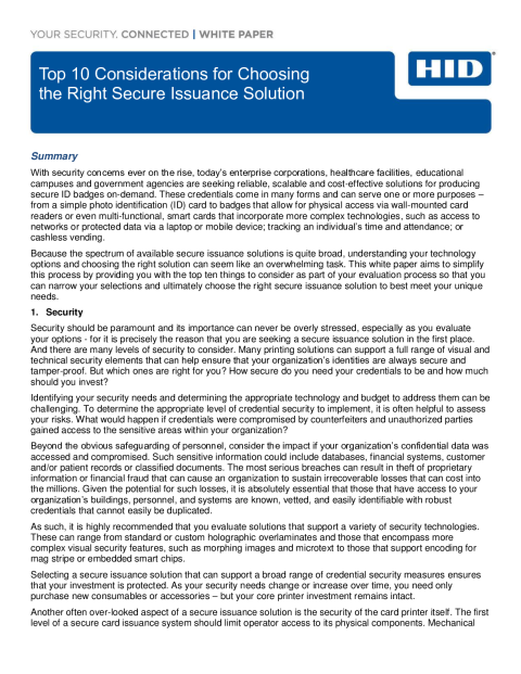 Top 10 Considerations for Choosing the Right Secure Issuance Solution White Paper