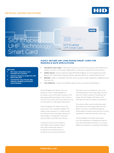 SIO Enabled UHF Technology Smart Card Datasheet