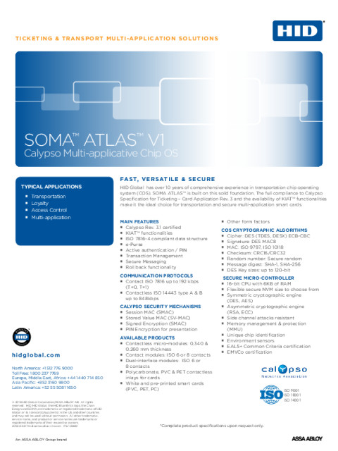 HID SOMA ATLAS V1 Chip OS Sellsheet