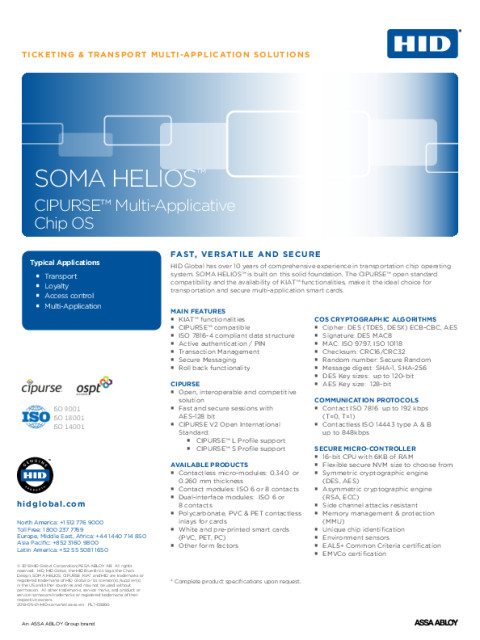 HID SOMA HELIOS Multi-Applicative Chip OS Sellsheet