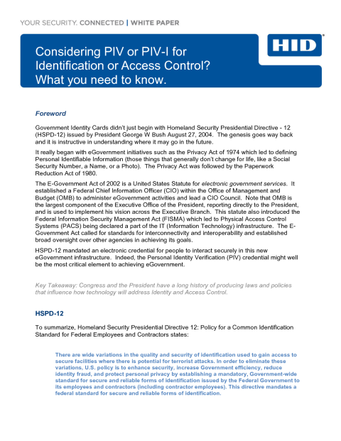 Considering PIV or PIV-I for Identification or Access Control? What You Need to Know White Paper