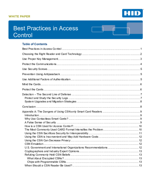 Best Practices in Access Control White Paper