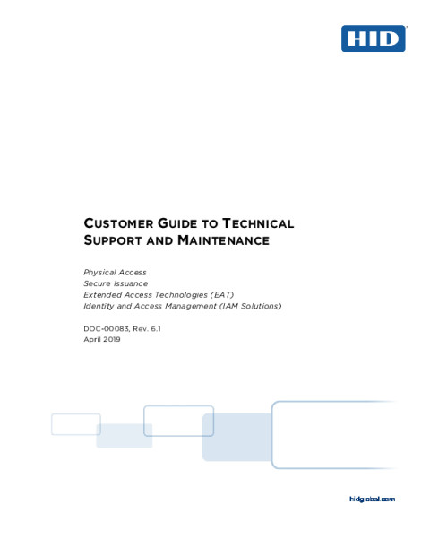 Customer Guide to Technical Support and Maintenance