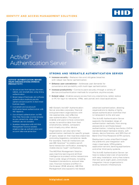 ActivID Authentication Server Datasheet