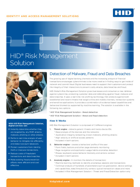 HID® Risk Management Solution Datasheet