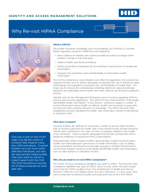 Why Re-visit HIPAA Compliance White Paper