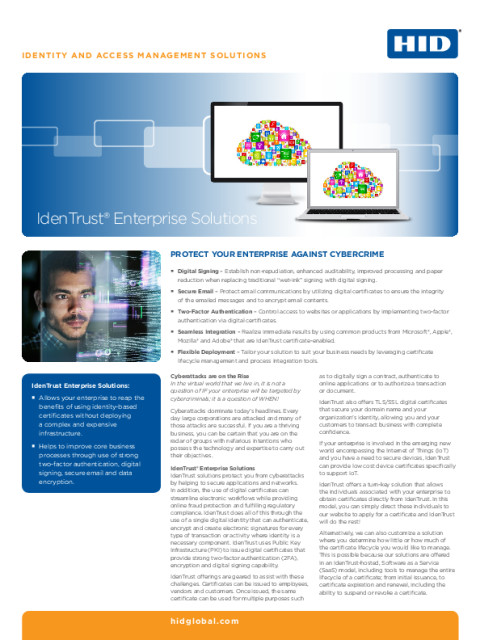 IdenTrust Enterprise Solutions Datasheet