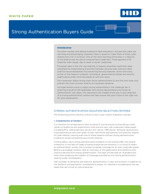 White Paper: Strong Authentication Buyer's Guide