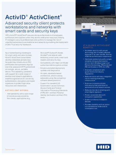 ActivID ActivClient Security Software Datasheet