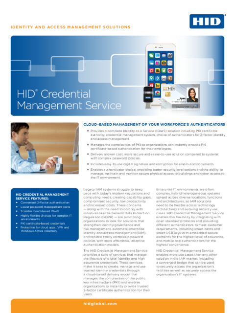 HID® Credential Management Service Datasheet