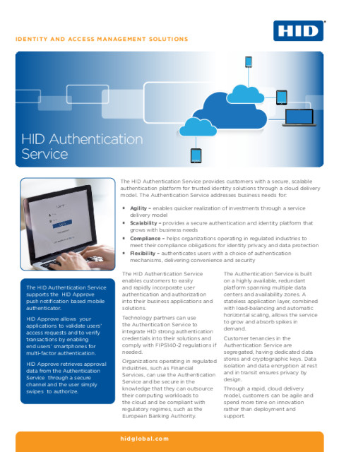 HID Authentication Service Datasheet