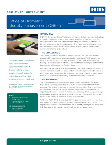 Case Study: Office of Biometric Identity Management (OBIM)