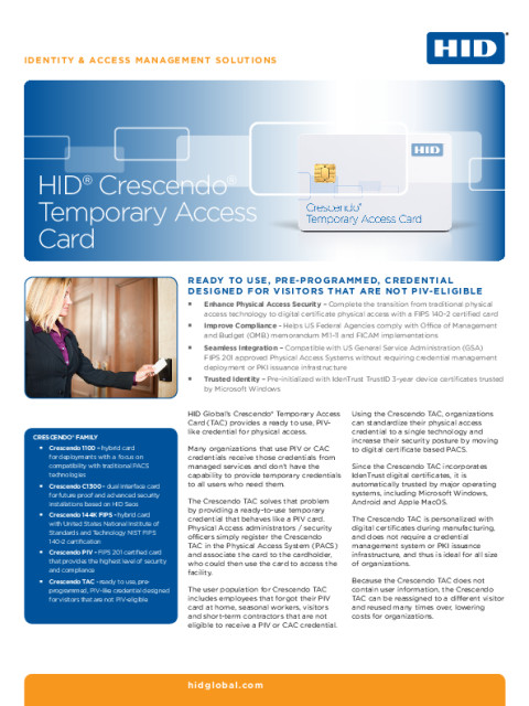 HID® Crescendo® Temporary Access Card