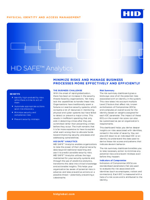 HID SAFE™ Analytics Datasheet