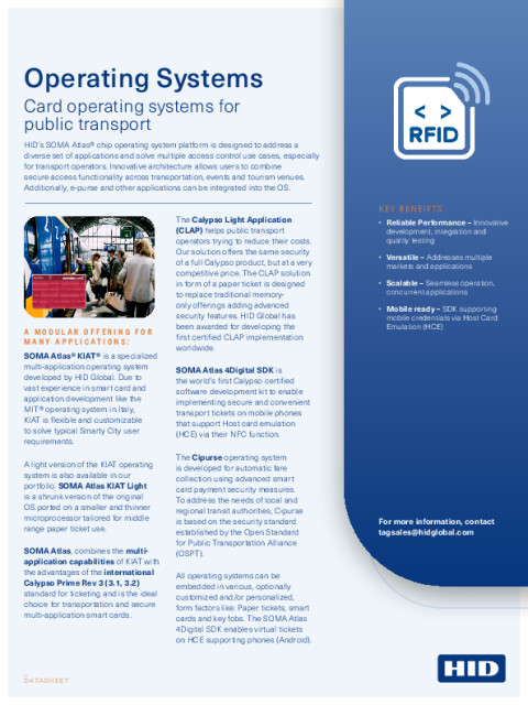 Card Operating Systems for Transit Datasheet