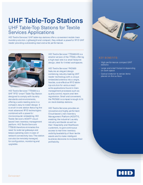 UHF Table-Top Stations for Textile Services Datasheet