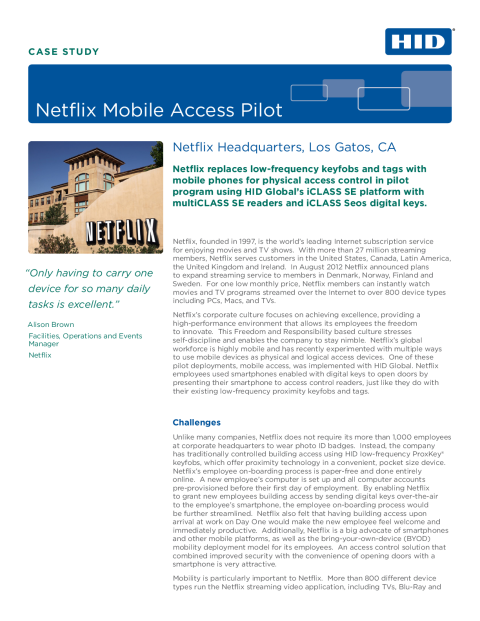Netflix Mobile Access Pilot Case Study