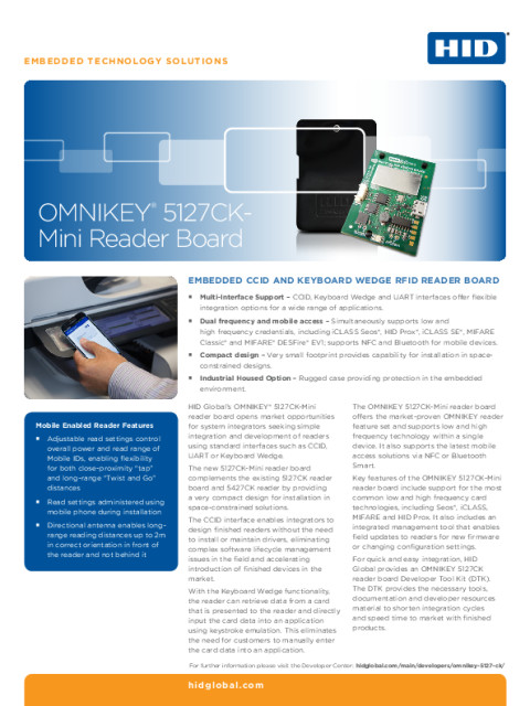 OMNIKEY 5127CK Mini Reader Board Datasheet