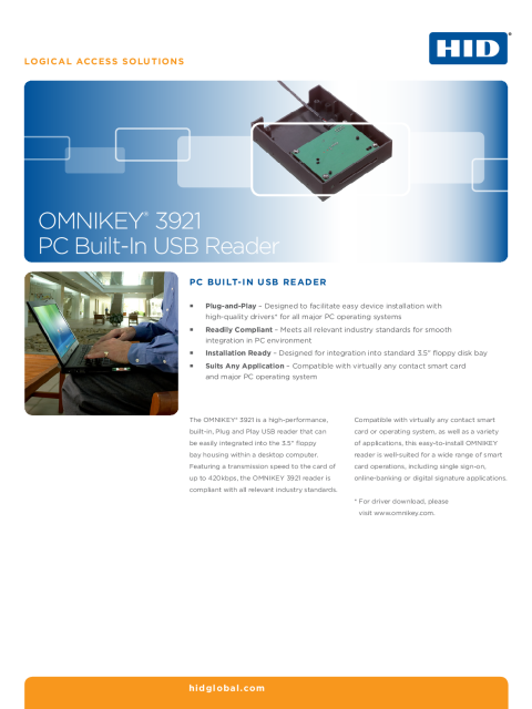 OMNIKEY 3921 PC Built in USB Reader Datasheet
