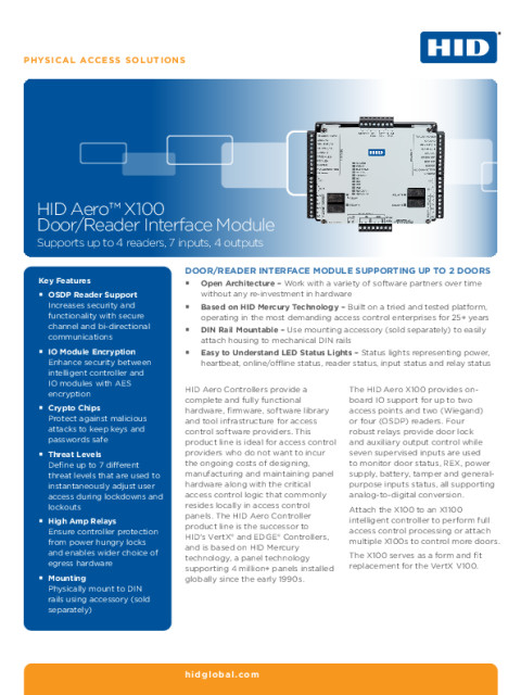 HID® Aero™ X100 Door/Reader Interface Module Datasheet