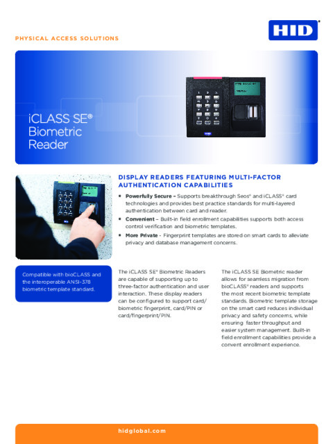 iCLASS SE Biometric & Display Readers Datasheet