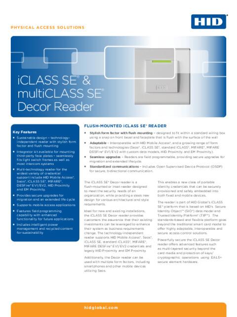 iCLASS SE® & multiCLASS SE® Decor Reader Datasheet
