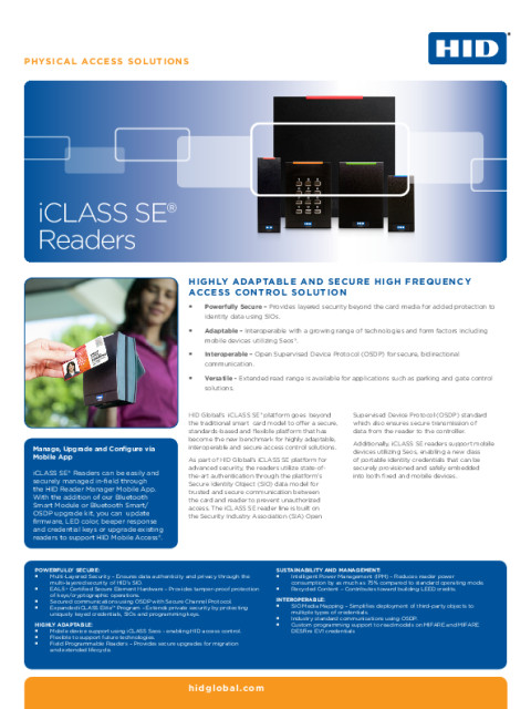ICLASS SE READER FAMILY DATASHEET (ENGLISH)