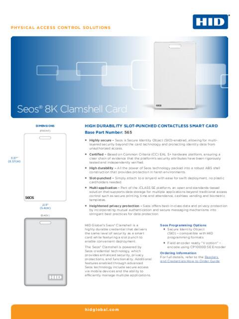 HID® Seos® 8K Clamshell Card Datasheet