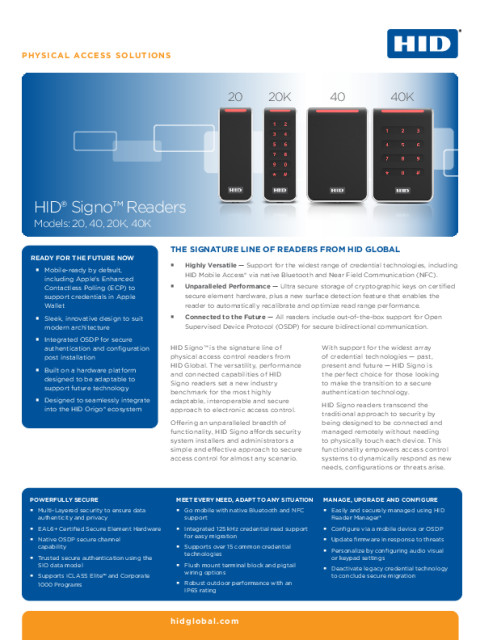 HID® Signo™ Readers Datasheet