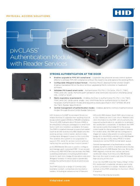 pivCLASS Authentication Module Datasheet
