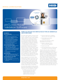 pivCLASS Mobile Validation Software Datasheet