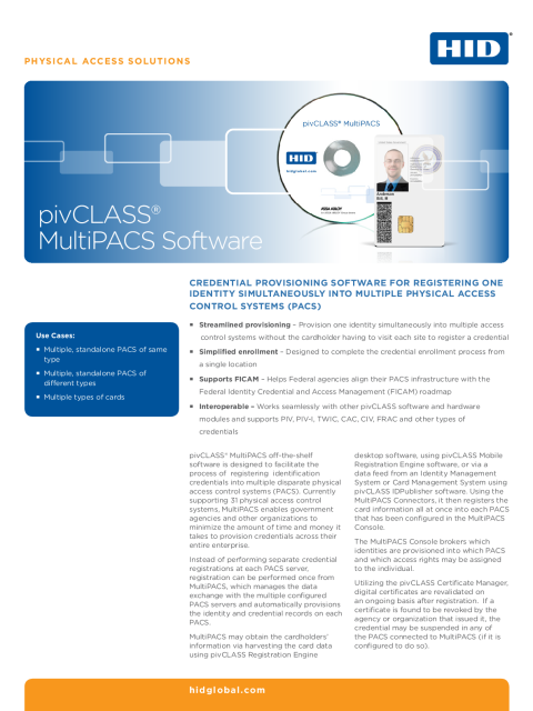 pivCLASS MultiPACS Software Datasheet
