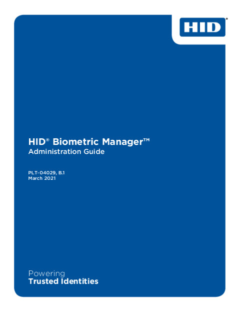 HID® Biometric Manager™ Administration Guide