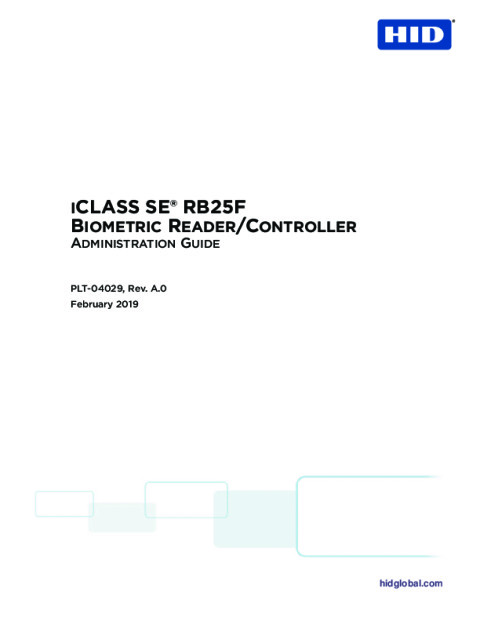 iCLASS SE® RB25F Biometric Reader/Controller Administration Guide