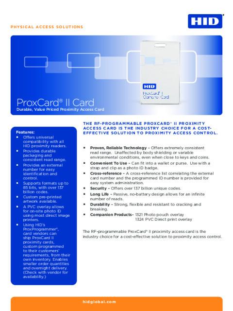 Prox ProxCard II Card Datasheet