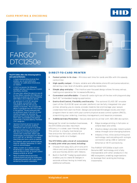 FARGO DTC1250E Printer Datasheet