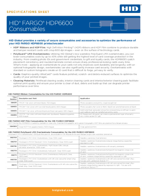 HID® FARGO® HDP6600 Consumables Specifications Sheet