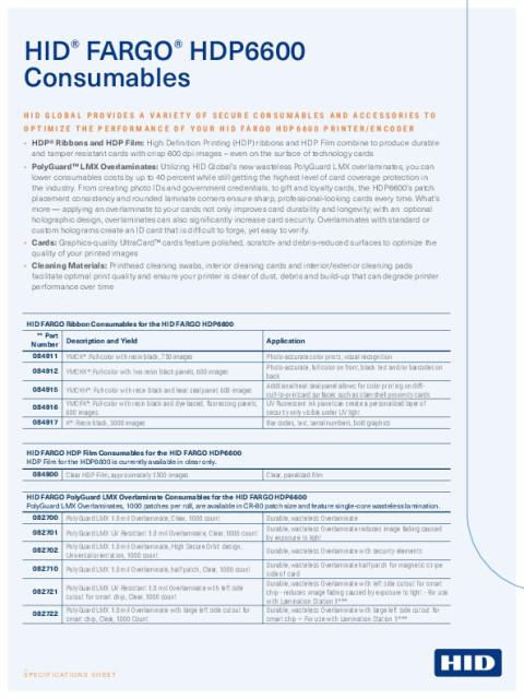 HID FARGO HDP6600 Consumables Spec Sheet